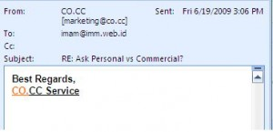 Email dari Marketing co.cc