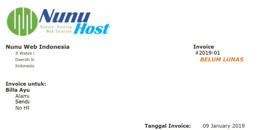 Contoh Komponen Invoice Pembuatan Website Artikel