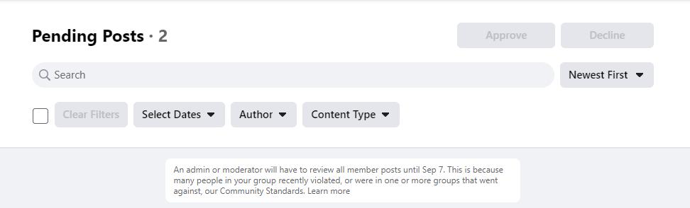 Mengapa Semua Posting di Group Jadi Pending?